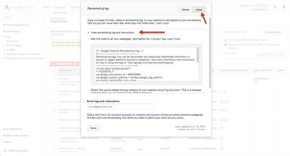 google adwords remarketing tag install