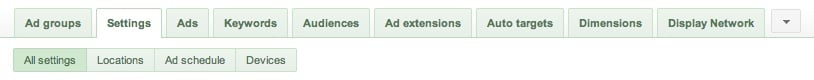 AdWords Settings Tab