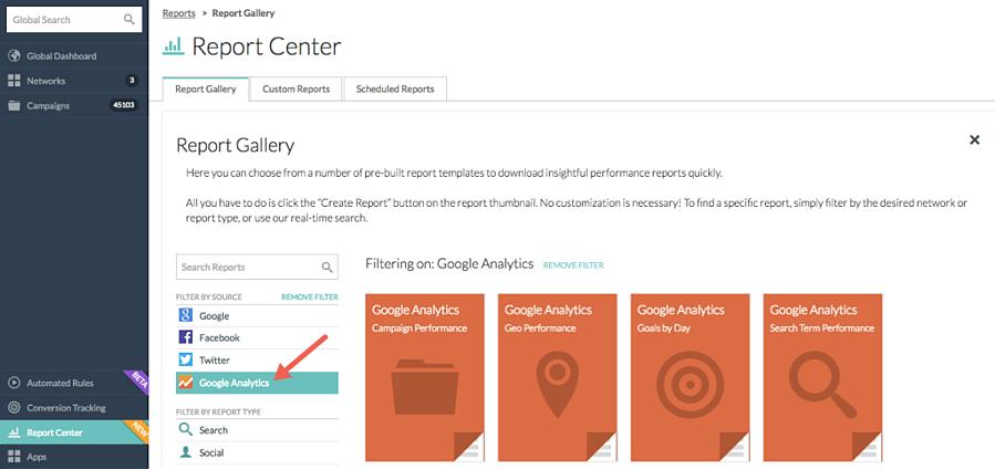 Google Analytics Report Center