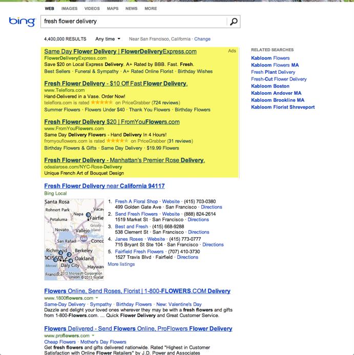 bing ads on desktop