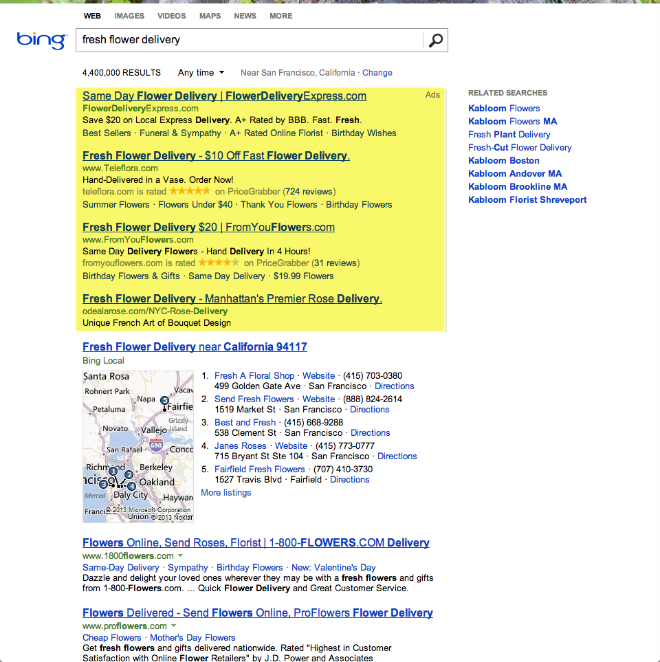 bing ads on desktop