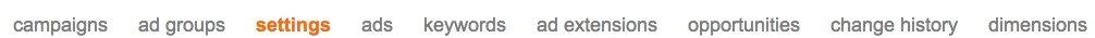 bing ads settings tab
