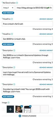 linkedin bulk text ad creation