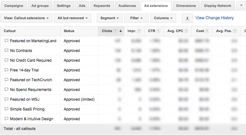 google adwords callout reporting
