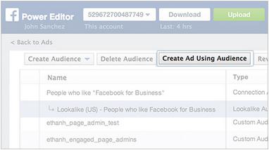 lookalike targeting create audience in facebook power editor