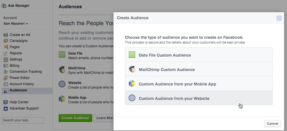 Create facebook custom audience from your website