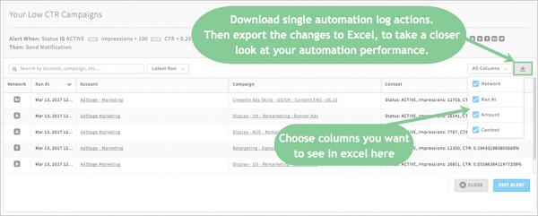 PPC Automation change log export csv via blog.adstage.io