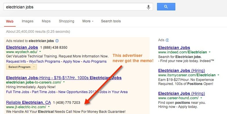 google search for electrician jobs