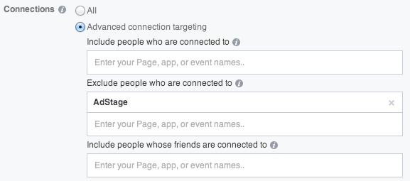 facebook ads targeting connections