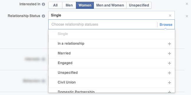 facebook ads targeting relationships