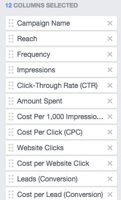 facebook ad reporting columns