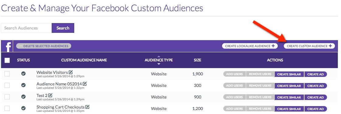 facebook custom audience create