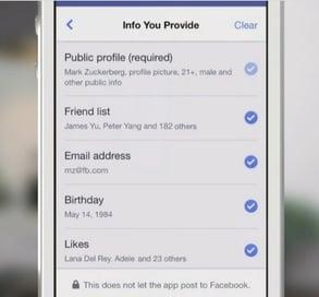 Facebook f8 login privacy
