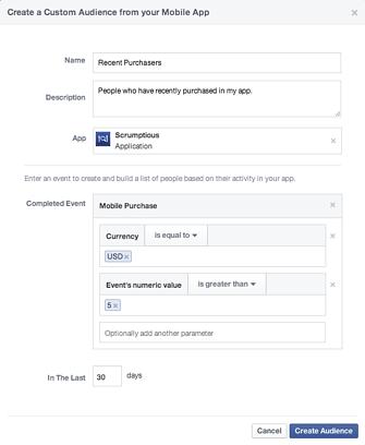 facebook mobile app custom audience