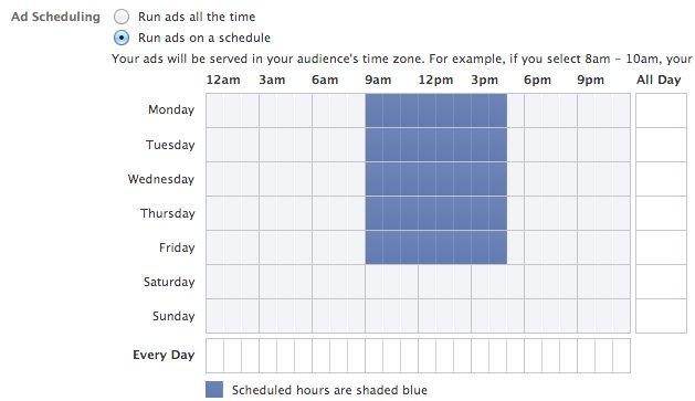 Facebook Power Editor Ad Scheduling