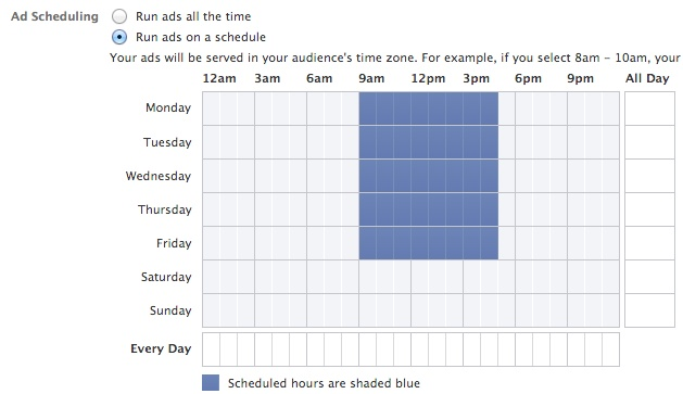Facebook Power Editor Ad Scheduling