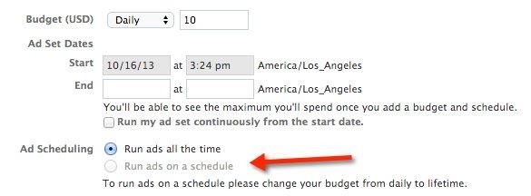 Facebook Power Editor Ad Set Settings