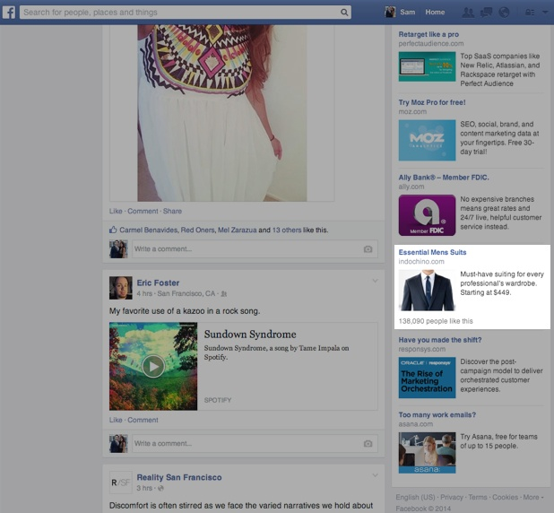Facebook profile with the old sidebar ads