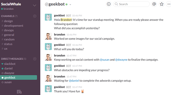 apps for productive meetings - geekbot