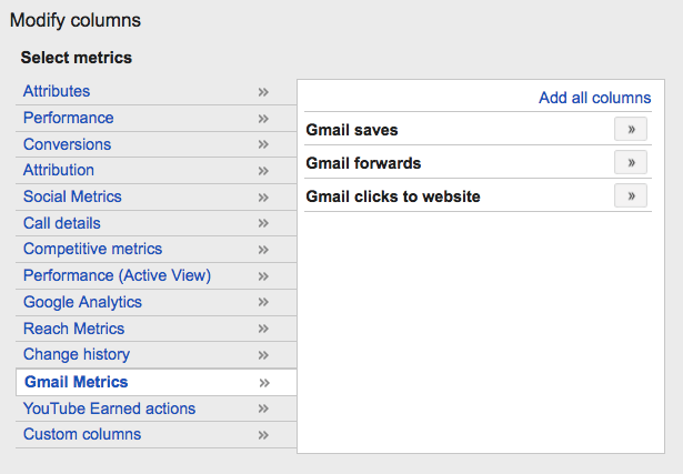 gmail ads reporting in adwords