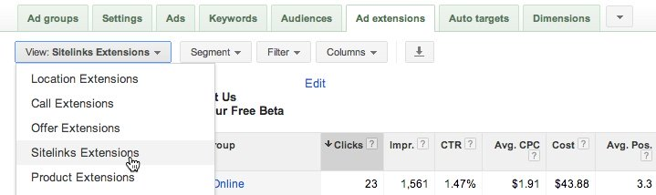 google adwords sitelinks settings