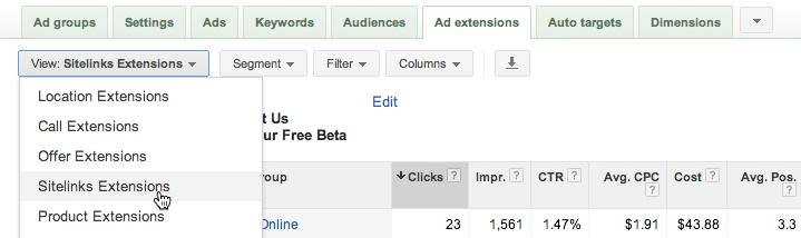 google adwords sitelinks settings