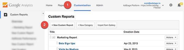 Google Analytics Create Custom Report