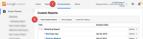 Google Analytics Create Custom Report