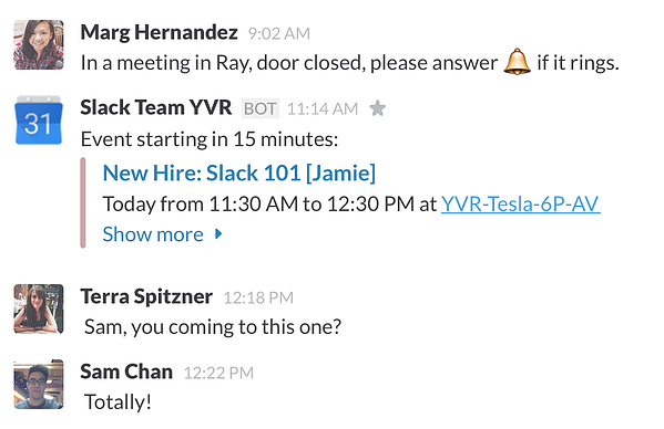 Slack meetings for productive meetings -- google calendar