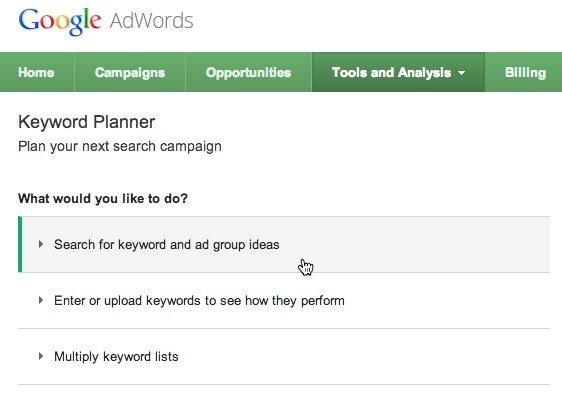 google keyword tool ideas