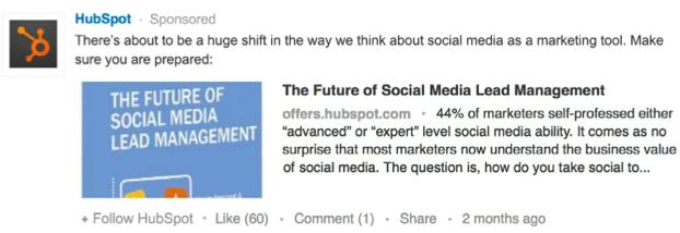 hubspot linkedin sponsored update