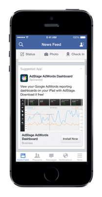 iphone 5s adstage facebook mobile install ad