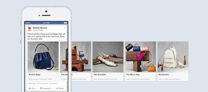 Neiman Marcus Facebook Carousel Ad Format via blog.adstage.io