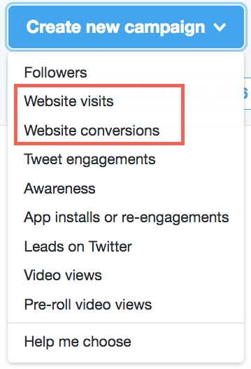 Twitter objective selector for new campaign objectives