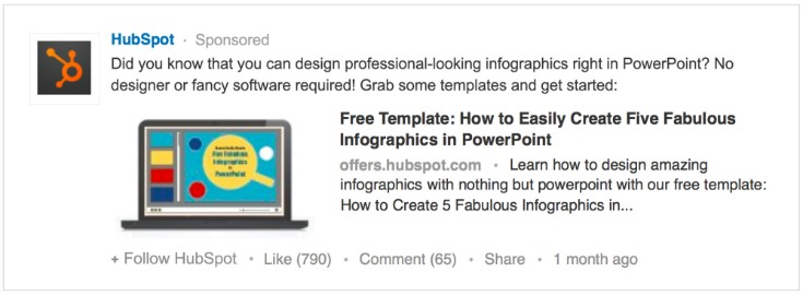 HubSpot LinkedIn Sponsored Content Ad Example via blog.adstage.io