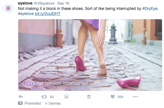 Twitter Ads Campaign Objective Eyelove Example via blog.adstage.io