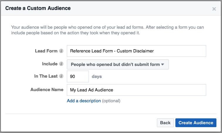 Create Engagement Custom Audiences to Retarget Ads using Form Submissions on Facebook Ads