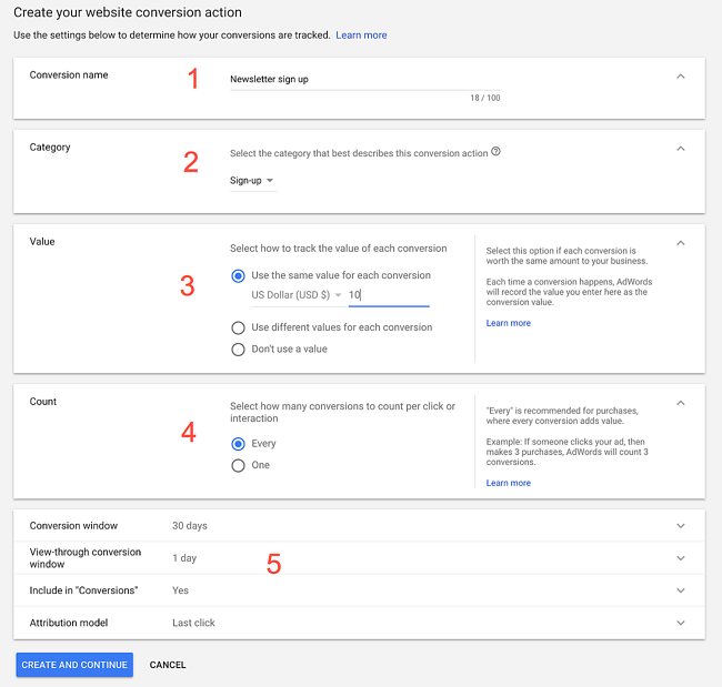 adwords new ui website conversions tab