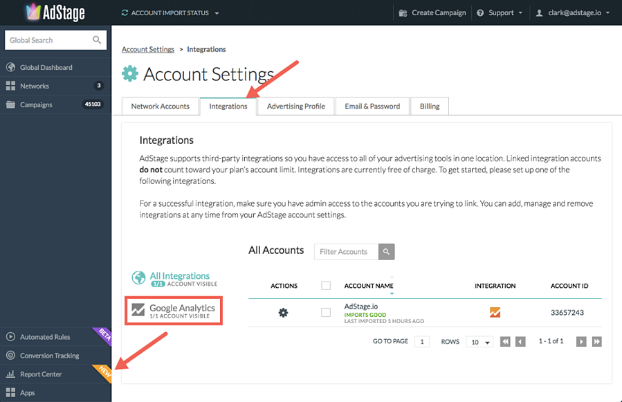 AdStage Account Settings