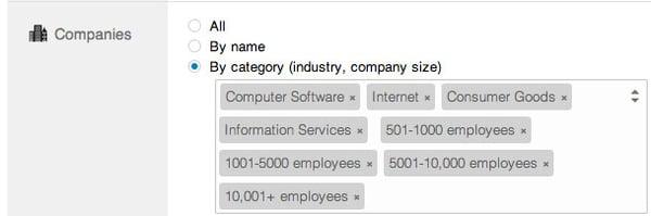 linkedin ads company type