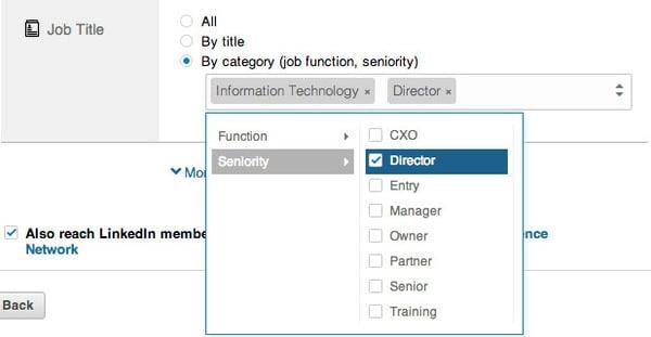 linkedin ads job function and seniority