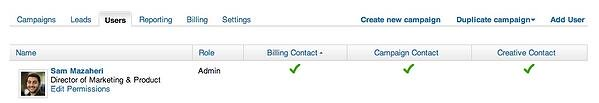 Linkedin ads user settings