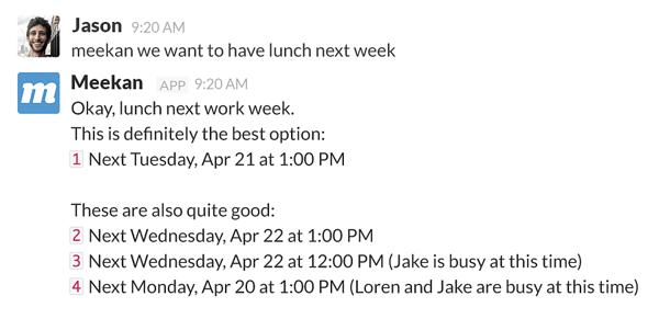 Slack productivity apps - Meekan
