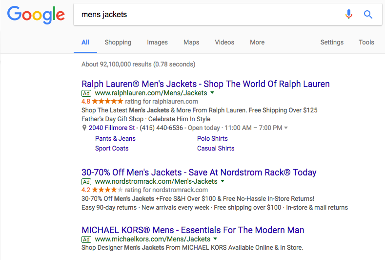 mens jackets search example