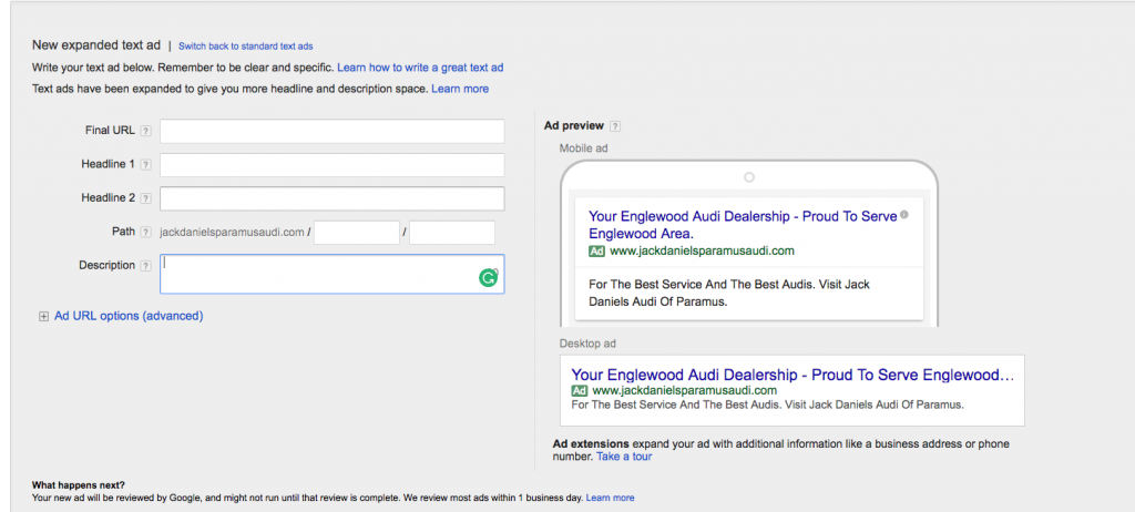 New AdWords Expanded Text Ads Interface