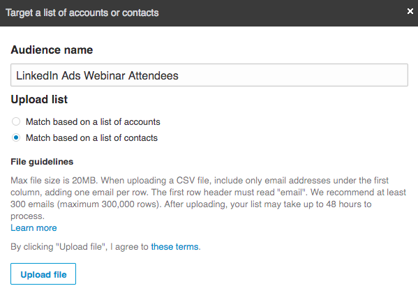 Contact Match in LinkedIn Ads Manager
