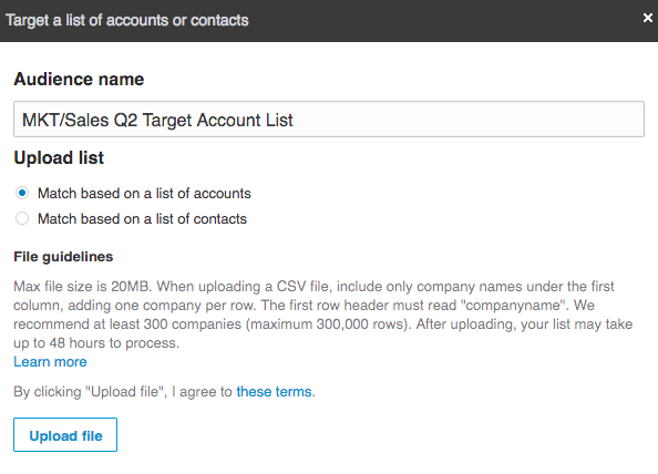 Account Targeting in LinkedIn Ads Manager