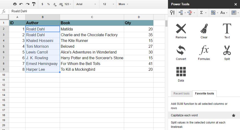 power tools google sheets