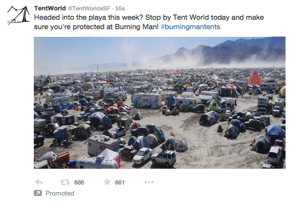 Twitter Ads Promoted Tweet Burning Man via blog.adstage.io
