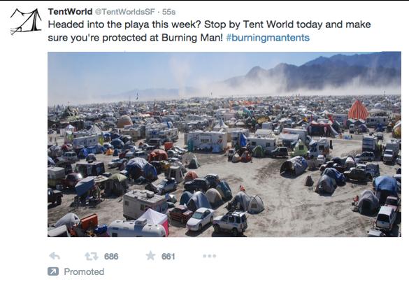 Twitter Ads Promoted Tweet Burning Man via blog.adstage.io